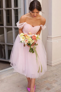 Off-shoulder Pink Short Bridesmaid Dress,FLY039