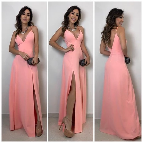 A-lien v neck pink long prom dress , open back prom dress,FLY067