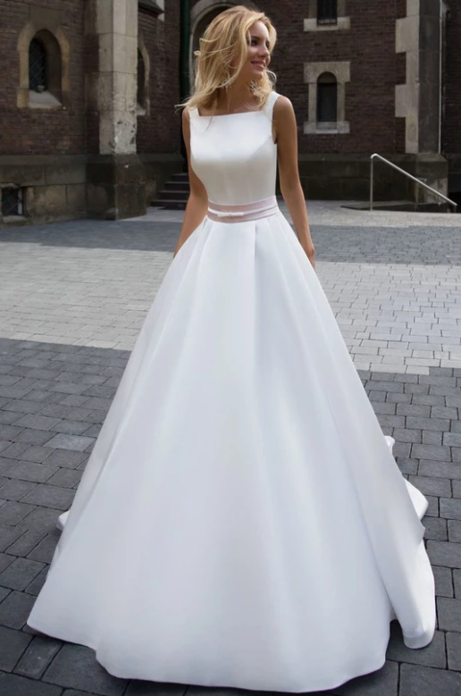 A-Line Sleeveless Long Ivory Pleated Prom Dress Backless Bateau Satin Wedding Dresses,FLY272