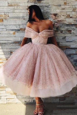 Ball Gown Off the Shoulder Homecoming Dress Pink Tea Length Prom Dresses ,FLY278