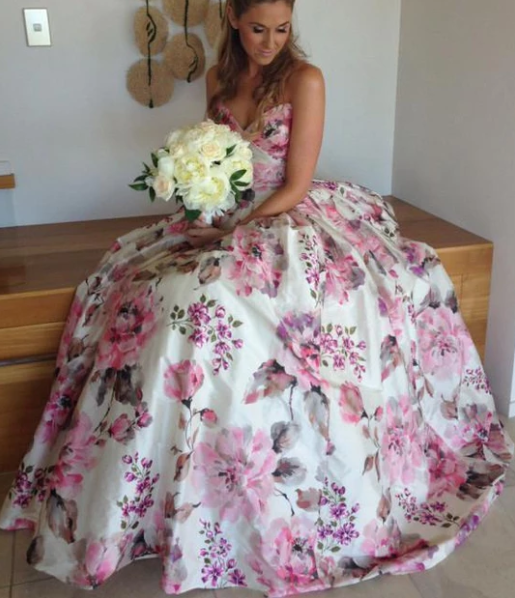 Ball Gown Printed Satin Sweetheart Spaghetti Straps Sleeveless Prom Dress Wedding Dress ,FLY280