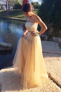 Champagne tulle sequins sweetheart strapless bridesmaid dress,FLY296