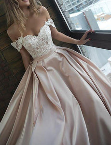 Chic Satin Prom Dresses Off the Shoulder Cheap Lace Sweetheart Wedding Dress ,FLY311