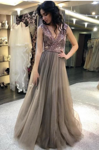 Elegant A Line Gray V Neck Tulle And Sequin Prom Dresses Long Party Dresses,FLY321