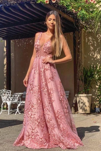 Elegant A Line Pink Lace Appliques Round Neck Straps Prom Dresses Long Formal Dress ,FLY324