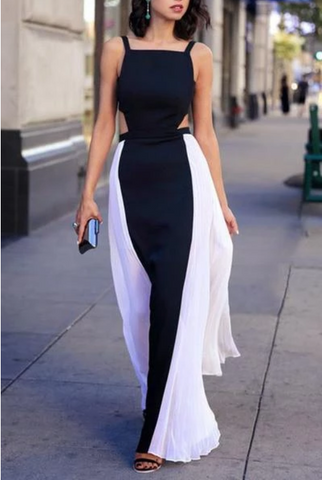 Elegant black & white chiffon long prom dresses summer dress with straps,FLY328