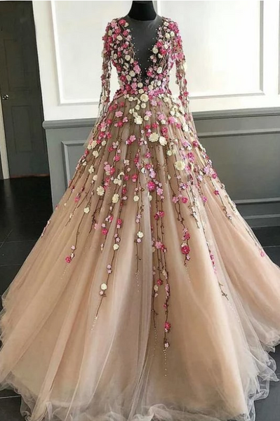 Elegant Floral Scoop Lace Long Sleeve Pink Prom Dresses with Tulle Long Evening Dresses,FLY329