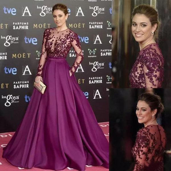 Elegant Long Sleeve Burgundy Beads High Neck with Pockets Satin Tulle Prom Dresses,FLY331