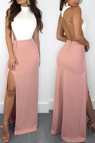 Elegant Mermaid White and Pink Halter Backless Satin with Slit Sleeveless Prom Dresses ,FLY334