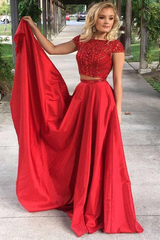 Elegant Red Two Pieces Beads Cap Sleeves Satin Evening Dresses Prom Dresses,FLY336