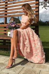 Elegant Scoop A Line Cap Sleeve Pink Homecoming Dresses with Flowers Prom Dresses,FLY337