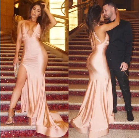 Sexy Evening Dress Sheath Light Champagne Deep V-neck Side Slit Backless Evening Dress Prom Dress ,FLY430