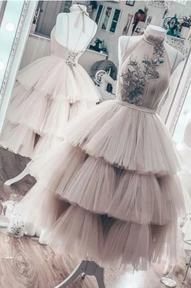 Unique Short Layered Tulle High Neck Short Prom Dress, Homecoming Dresses,FLY465