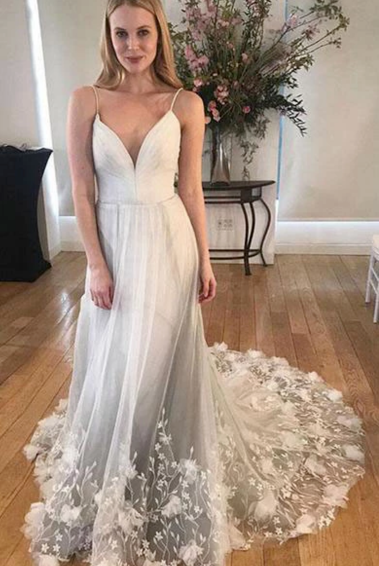 Unique Spaghetti Strap Long Cheap Tulle Prom/Wedding Dresses With Applique,FLY466