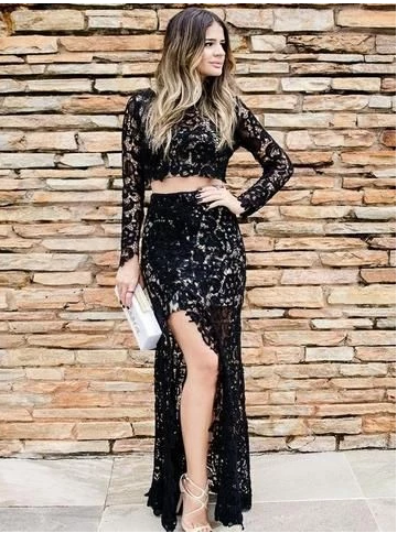 Two Piece Scoop Neck Black Long Sleeve Prom Dress,FLY571