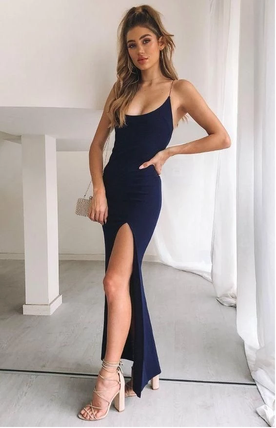 Navy blue Prom Dress, Long Prom Dress,FLY573
