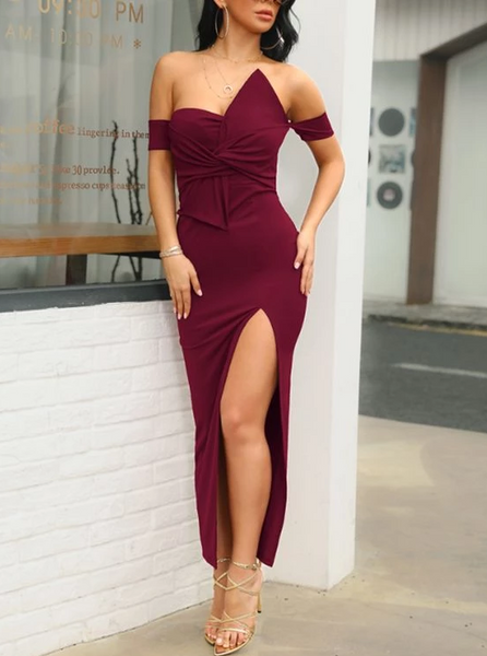 Burgundy Irregular Bow Bandeau Off Shoulder V-neck Short Sleeve Slit Work Formal Prom Dress,FLY578