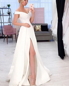 Off-Shoulder A line White Long Prom Dresses,FLY580