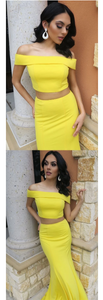 Two Piece Off the Shoulder Yellow Mermaid Long Prom Dress,FLY583