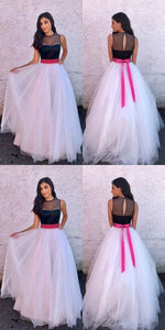 A-Line Jewel Sweep Train White Tulle Prom Dress with Sash, M0010