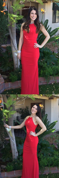 Mermaid Halter Sleeveless Floor-Length Red Chiffon Prom Dress with Ruched, M0015