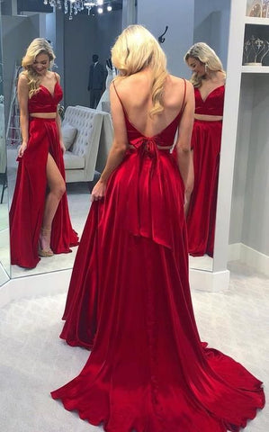 princess two piece red long prom dress with bow in the back, 2019 sexy long prom, M0050
