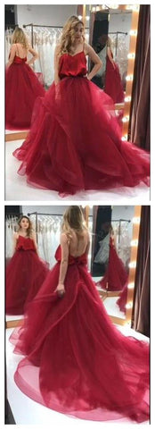Spaghetti-straps Tulle Long Burgundy Prom Gown Backless Party Dresses, M0058