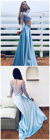 Blue Two Piece Prom Dress Lace Long Sleeves A Line Party Gown,M0059