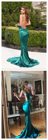 Backless Mermaid Ruched Teal Prom Dress, M0060