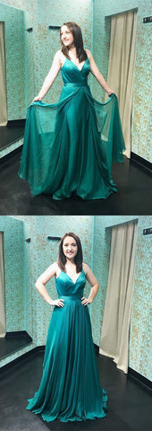 Fashion Straps V Neck Green Long Prom Dress,Sexy Evening Dress,M0080