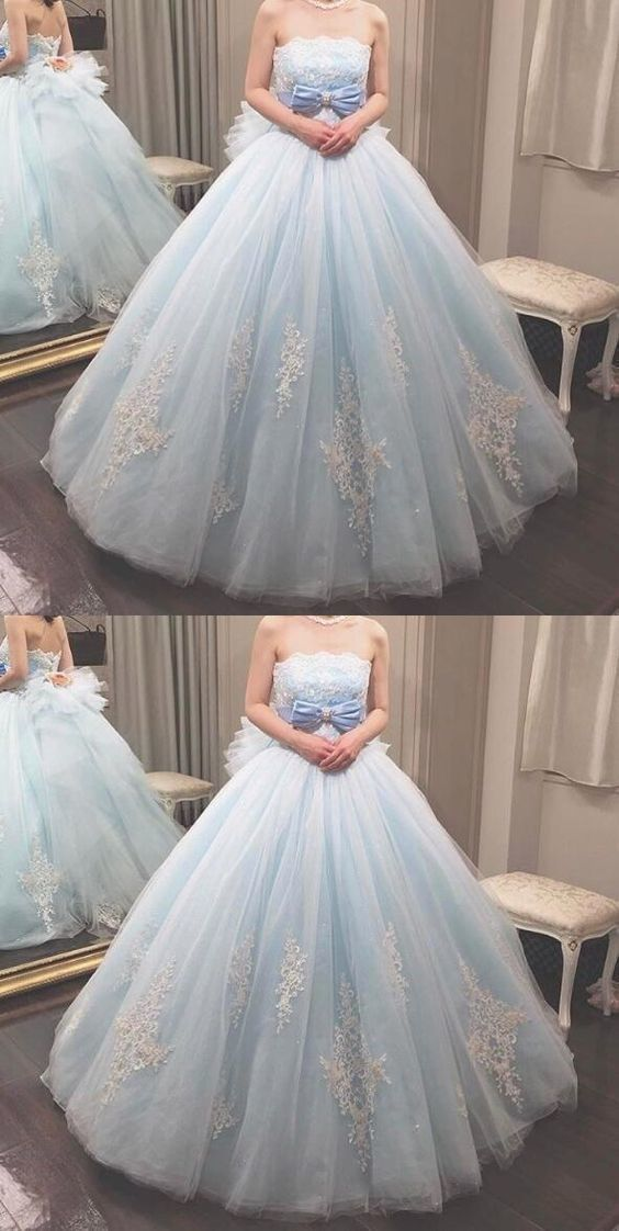Elegant Light Blue Strapless Tulle Ball Prom Dress, Appliques Quinceanera,M0082