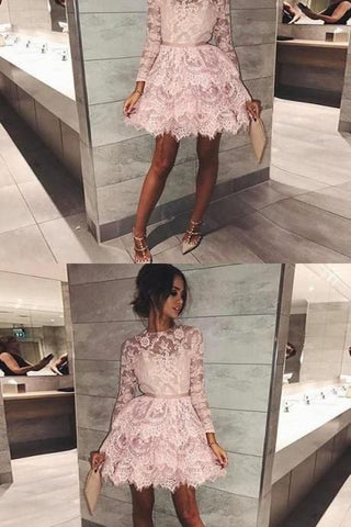 pink short homecoming dresses, long sleeves lace short prom dresses, lace tiered,Formal Prom Dress,Custom Made,Party Gown,Cheap Prom dress,M0113