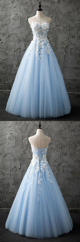 Sweetheart Blue Tulle Long Customized Evening Dress With Appliques,M0128