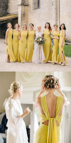Yellow Bridesmaid Dresses, Sheath Bridesmaid Dresses, Side Slit Bridesmaid Dresses, M0154
