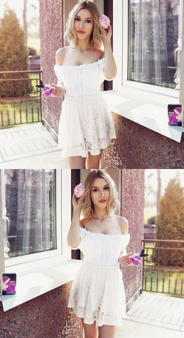 A-Line Off the Shoulder White Lace Homecoming Dress, M0179