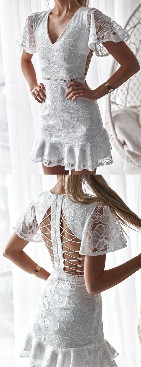 A-Line V-neck Open Back Short White Lace Homecoming, M0181