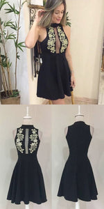 A-Line High Neck Appliques Short Black Homecoming Dress, M0195
