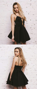 A-Line High Neck Appliques Short Black Homecoming Dress,Simple, M0207