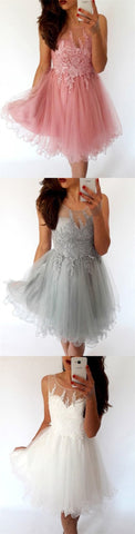 A-Line Illusion Neck Knee-Length Homecoming Dress with Appliques , M0217