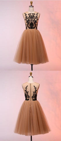 A-Line Round Neck Short Champagne Homecoming Dress with, M0235