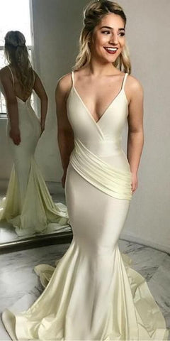 Spaghetti Strap Elegant Mermaid Long Prom Dresses Pretty Evening Dress, M0265