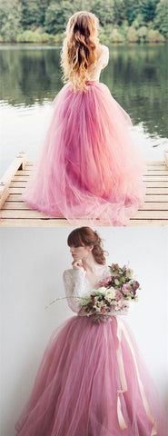 A-Line V-Neck Long Sleeves Pink Tulle Wedding Dress with Lace Appliques,  M0279