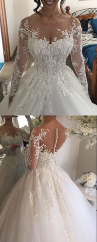 Ball Gown Illusion Jewel Long Sleeves Wedding Dress with Beading Appliques,M0314