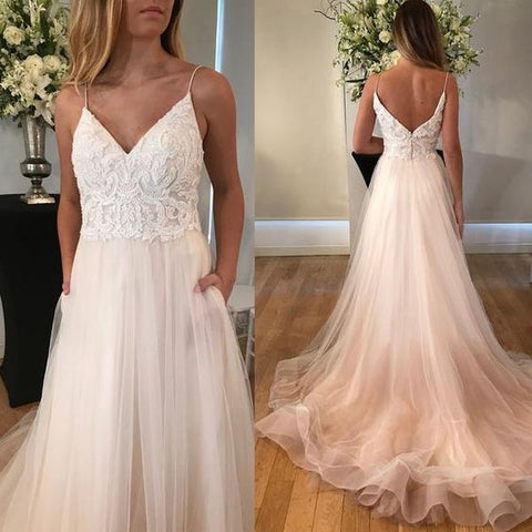 Charming V-Neck Lace Top Wedding Dress, Spaghetti Straps V-Back Tulle Wedding Dress,M0317