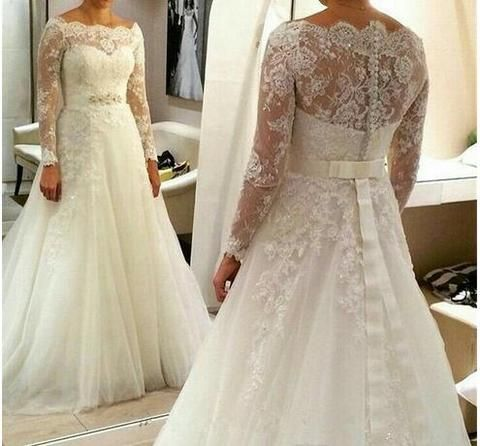 Plus Size A-line Long Tulle with Beaded Belt Appliques Long Sleeves Wedding Dress, M0328