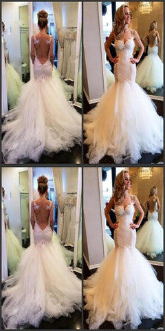 Stunning Tulle Sexy Straps V-Neck Mermaid Wedding Dresses With Lace Appliques, M0355