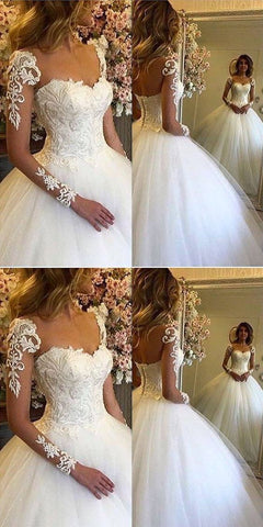 Chic Ball Gown V-Neck Long Sleeves Appliques Floor-Length Wedding Dress , M0368