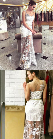 Unique White Prom Dresses Sheath Jewel Long Evening Dresses with Appliques,M0468