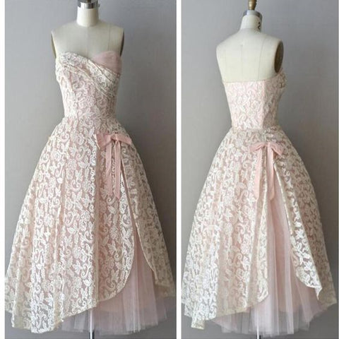 Strapless pink lace unique style vintage cheap homecoming prom gowns dress,M0498