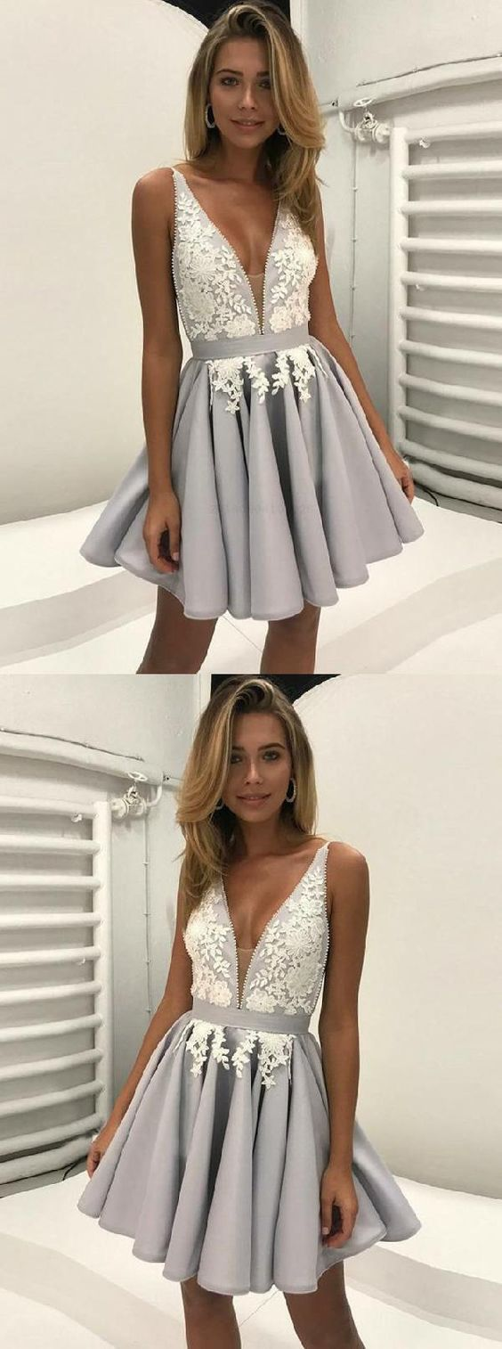 Outlet Nice V-Neck Homecoming Dresses, Grey Homecoming Dresses, Backless Party Dresses, A-Line Party Dresses,M0590